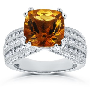 White Gold Cushion Orange Citrine and 1 1/5ct TDW Diamond Multi-Row Channel R - Handcrafted By Name My Rings™