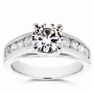 White Gold Moissanite and 1/2ct TDW Diamond Channel Band Engagement Ring - Handcrafted By Name My Rings™