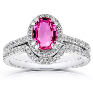 White Gold Oval Pink Sapphire and 1/2ct TDW Halo Diamond Bridal Rings 2 Piece - Handcrafted By Name My Rings™