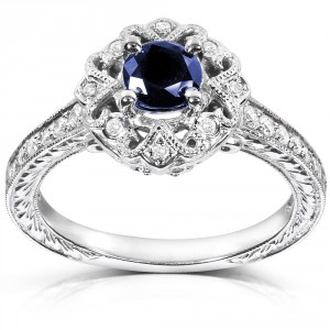 White Gold Round-cut Blue Sapphire and Diamond Vintage Engagement Ring - Handcrafted By Name My Rings™