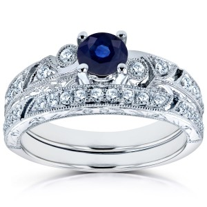 White Gold Sapphire and 1/3ct TDW Diamond Filigree Milgrain Bridal Set - Handcrafted By Name My Rings™