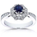 White Gold Sapphire and 1/4ct TDW Diamond Milgrain Engagement Ring - Handcrafted By Name My Rings™