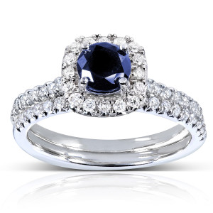 White Gold Sapphire and 2/5ct TDW Diamond Halo Bridal Set - Handcrafted By Name My Rings™