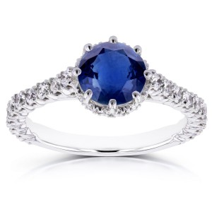 White Gold Sapphire and 3/5ct TDW Diamond 8 Prong Standing Halo Engagement Ring - Handcrafted By Name My Rings™