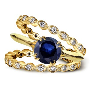 Gold 1ct Blue Sapphire and 3/4ct TDW Diamond Floral Double Eternity Wedding Bands Set - Handcrafted By Name My Rings™