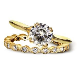 Gold Forever One Moissanite and 2/5ct TDW Diamond Blooming Flower 2-Pi - Handcrafted By Name My Rings™