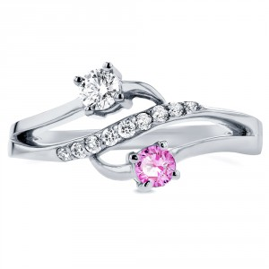 Two White Gold Pink Sapphire and 1/5ct TDW Diamond Two-Stone Curved Ring - Handcrafted By Name My Rings™