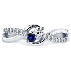 Two Collection White Gold Blue Sapphire and 1/6ct TDW Diamond 2-stone Ring - Handcrafted By Name My Rings™