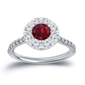 Gold 1/2ct Ruby and 3/5ct TDW Diamond Engagment Ring - Handcrafted By Name My Rings™