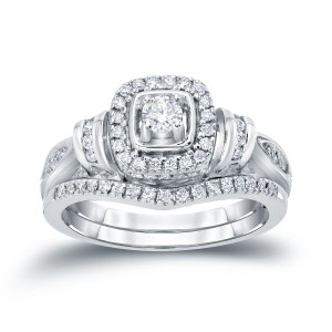 1/2ct TDW Halo Diamond Bridal Ring Set - Handcrafted By Name My Rings™
