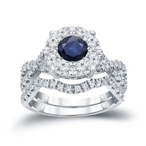 1/3ct Blue Sapphire and 7/8ct TDW Cluster Diamond Braided Bridal Ring Set - Handcrafted By Name My Rings™