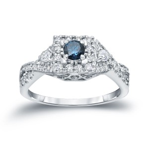 4/6ct TDW Halo Blue Diamond Engagement Ring - Handcrafted By Name My Rings™
