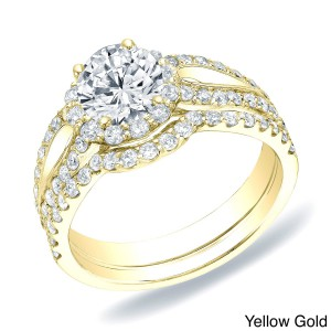 Gold 1 1/2ct TDW Certified Round Diamond Halo Engagement Bridal Ring Set - Handcrafted By Name My Rings™