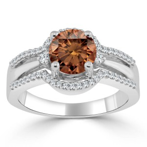 Gold 1 1/5ct TDW Brown Round Diamond Engagement Ring - Handcrafted By Name My Rings™