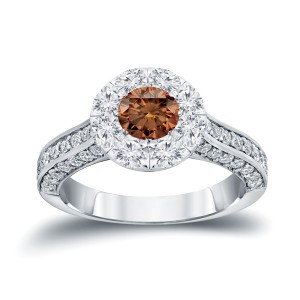 Gold 1 3/4ct TDW Brown and White Diamond Engagement Ring - Handcrafted By Name My Rings™