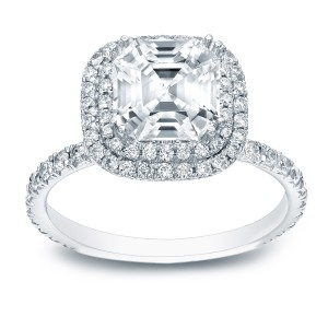 Gold 1 3/4ct TDW Certified Asscher-cut Diamond Halo Engagement Ring - Handcrafted By Name My Rings™
