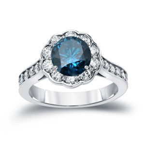Gold 1 3/4ct TDW Round Cut Blue Diamond Halo Engagement Ring - Handcrafted By Name My Rings™