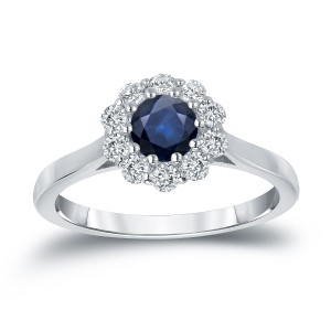Gold 1/2ct Blue Sapphire and 1/3ct TDW Round Diamond Halo Engagement Ring - Handcrafted By Name My Rings™
