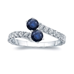Gold 1/2ct Blue Sapphire and 1/4ct TDW Diamond 4-prong, 2-stone Engagement Ring - Handcrafted By Name My Rings™