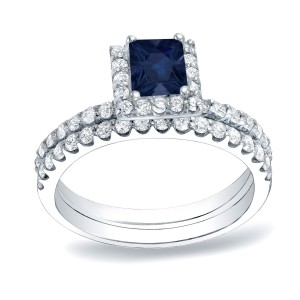 Gold 1/2ct Blue Sapphire and 3/4ct TDW Diamond Bridal Ring Set- Handcrafted By Name My Rings™