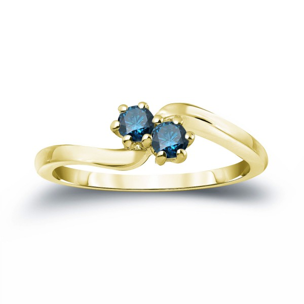 Gold 1/2ct TDW 2 Stone Round Cut Blue Diamond Engagement Ring   Handcrafted  By Name My Rings™