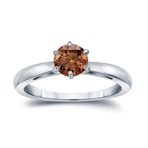 Gold 1/2ct TDW 6-Prong Round Cut Brown Diamond Solitaire Engagement Ring - Handcrafted By Name My Rings™