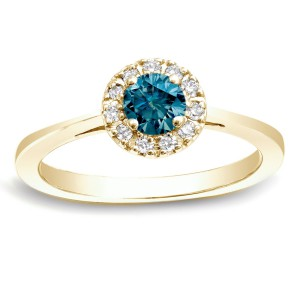 Gold 1/2ct TDW Round Blue Diamond Halo Engagement Ring - Handcrafted By Name My Rings™