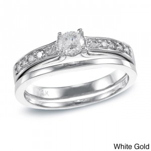 Gold 1/2ct TDW Round Diamond Bridal Ring Set - Handcrafted By Name My Rings™