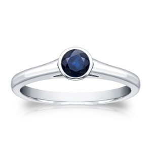 Gold 1/4ct Round-Cut Blue Sapphire Solitaire Ring - Handcrafted By Name My Rings™