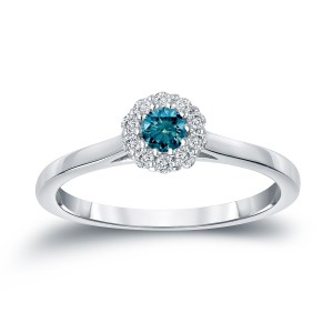 Gold 1/4ct TDW Round-cut Blue Diamond Halo Engagement Ring - Handcrafted By Name My Rings™