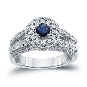Gold 1/5ct Blue Sapphire and 1/2ct TDW Round Diamond Halo Engagement Ring - Handcrafted By Name My Rings™