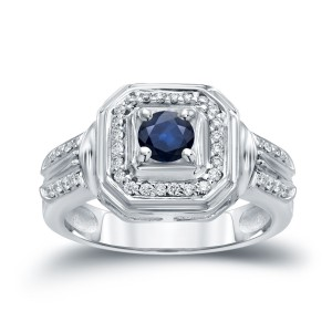 Gold 1/5ct Blue Sapphire and 1/5ct TDW Round Diamond Engagement Ring - Handcrafted By Name My Rings™