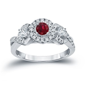 Gold 1/5ct Ruby and 1/2ct TDW Diamond Engagement Ring - Handcrafted By Name My Rings™