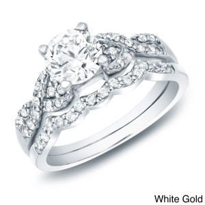 Gold 1ct TDW Certified Diamond Braided Engagement Ring Set - Handcrafted By Name My Rings™