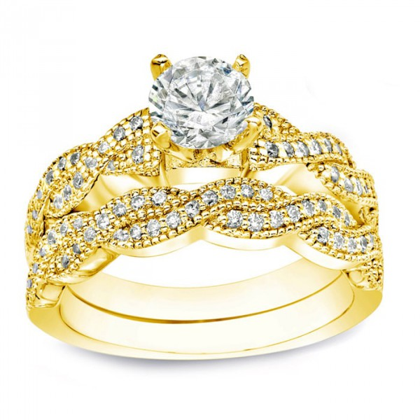 64851679b91b3 Gold 1ct TDW Certified Round Diamond Bridal Ring Set - Handcrafted By Name  My Rings™