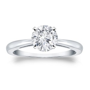 Gold 1ct TDW Round Cut Diamond Solitaire Engagement Ring - Handcrafted By Name My Rings™