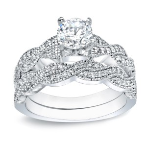 Gold 1ct TDW Round Diamond Bridal Ring Set - Handcrafted By Name My Rings™
