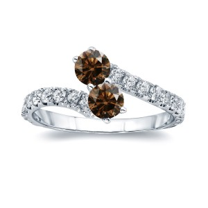 Gold 1ct TDW Round-cut Brown Diamond 4-prong, 2-stone Engagement Ring - Handcrafted By Name My Rings™