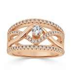 Gold 2/5ct TDW Braided Diamond Engagement Ring - Handcrafted By Name My Rings™