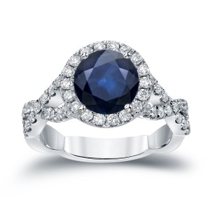 Gold 2ct Blue Sapphire and 3/4ct TDW Round Cut Diamond Halo Engagement Ring - Handcrafted By Name My Rings™