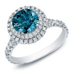 Gold 2ct TDW Blue Diamond Halo Cathedral Engagement Ring - Handcrafted By Name My Rings™