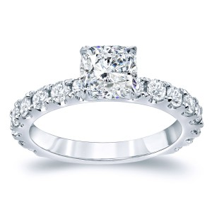 Gold 2ct TDW Certified Cushion Cut Diamond Engagement Ring - Handcrafted By Name My Rings™