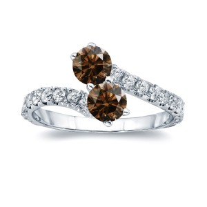 Gold 2ct TDW Round-cut Brown Diamond 4-prong, 2-stone Engagement Ring - Handcrafted By Name My Rings™