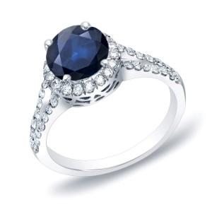 Gold 3/4ct Blue Sapphire and 1/2ct TDW Round Diamond Halo Engagement Ring - Handcrafted By Name My Rings™