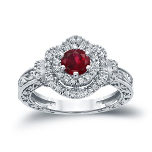 Gold 3/4ct Ruby and 1/3ct TDW Round Diamond Engagement Ring - Handcrafted By Name My Rings™