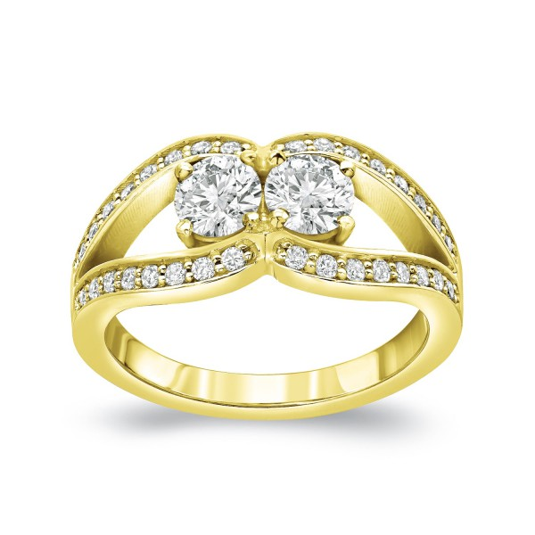 63da360a4d028 Gold 3/4ct TDW 2-Stone Round Cut Diamond Engagement Ring - Handcrafted By  Name My Rings™