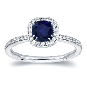 Gold 3/4ct TDW Blue Sapphire and 1/3ct TDW Diamond Halo Ring - Handcrafted By Name My Rings™