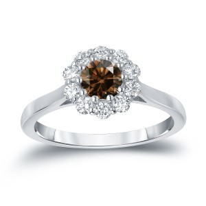 Gold 3/4ct TDW Round-cut Brown Diamond Halo Engagement Ring - Handcrafted By Name My Rings™