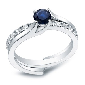 Gold 3/5ct Blue Sapphire and 2/5ct TDW Round Diamond Bridal Ring Set - Handcrafted By Name My Rings™