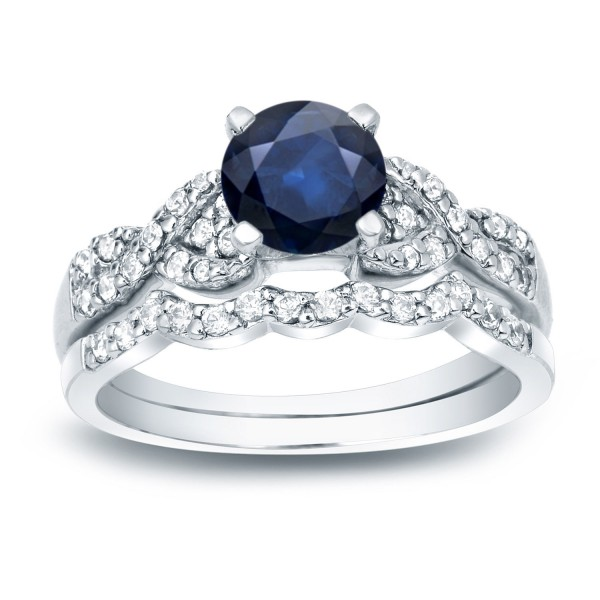 Gold 3 5ct Blue Shire And 2 Tdw Round Diamond Bridal Ring Set Handcrafted By Name My Rings